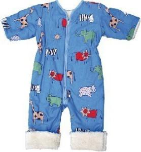schlafsack mit beinen-Babies & Kids-Öko-Schlafoverall mit Ärmeln-Safari-Baumwollplüsch-blau